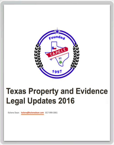 Texas Property & Evidence Legal Updates 2016